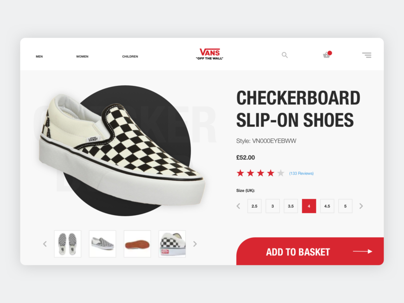 Vans Off the Wall Ecommerce Concept concept web shopping shop shoes app flat ux  ui ux fashion ecommerce clean design clean white and black white red design sneakers ui vans