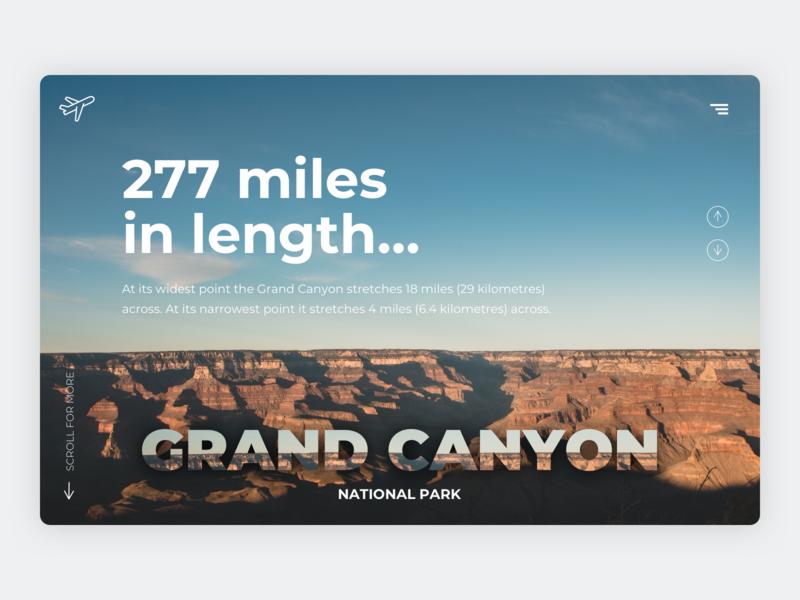 Grand Caynon Concept blue orange explorer places to visit vist travel app traveling photography ux ui explore adventure national park grand canyon canyon travel webdesign web design concept