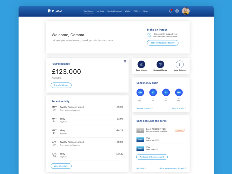 PayPal Update Design Concept finance app financial concept design concept art redesign fintech finance paypal ui ux blue creative design concept