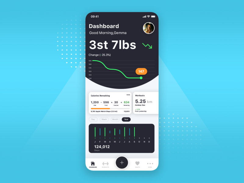 Weight loss tracker app ux ui weight loss fitness app app design design application fitness app creative concept blue