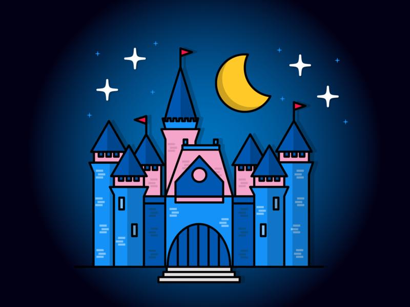 Disney Castle blue creative design vector icon concept illustration digital disney