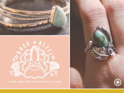 Rock + Bezel Branding crystals gemstone gem artisan jeweler traditional logo brand silver branding jewelry