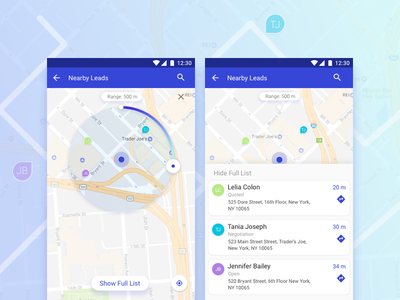 CRM App- Nearby Leads android slider range ui nearby lead crm map app