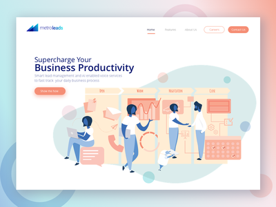 Website Landing Page automation minimal pipeline product branding crm sales webdesign landing page character illustration