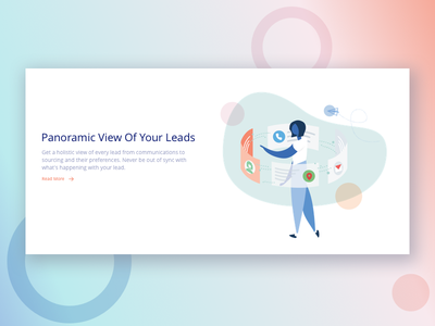 Panoramic View ui sales landing page saas woman tech product character illustration