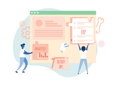 Integration platform product erp analytics icon vector design automation sales landing page crm ui character illustration