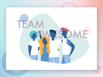 Team Awesome hire about us tech work team ui vector character illustration