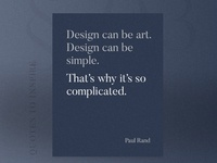 Design can be art. Design can be simple.