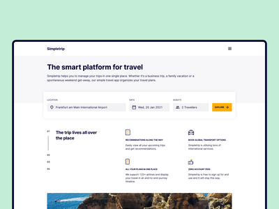 Simpletrip minimalism clean ui desktop search trip input field platform website typogaphy ui travel flat