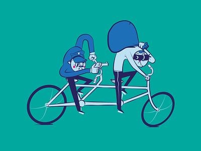 Tandem nwo illustration vector design policeman illustrator gun thief bike police