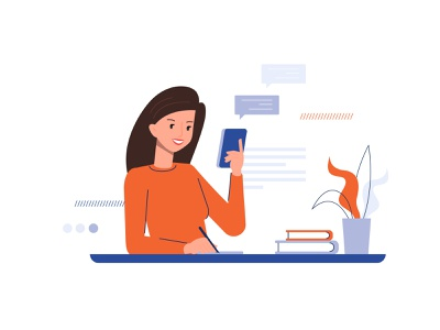 Business woman character business manager work desk desk bubbles communication working hours workspace office worker office work office space mobile icons diagrams working girl developer office decentriq charts