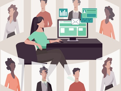 Work from home – Remote home office work desktop icons charts email character design teamwork team human resources office work from home remote work remote virtual assistant virtual reality virtual
