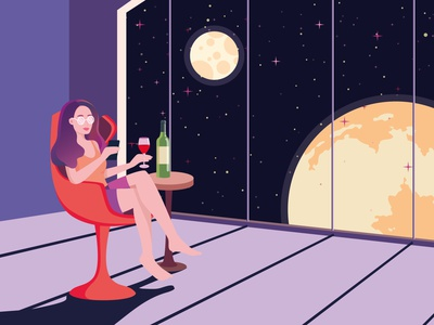 Planet Earth Home Isolation spaceship flat woman character design character home isolation isolation home wine drink calm relax girl character girl planet earth planet universe