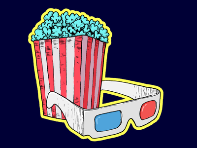 Movies and popcorn food affinity illustration