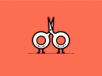 The Scissor Sisters - Miss and Miss Scissor character simple illustration vector
