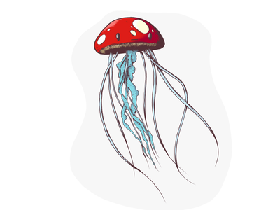 Inktober 2018 Day 1 - Poisonous character mushroom jellyfish poisonous digital inktober 2018 inktober