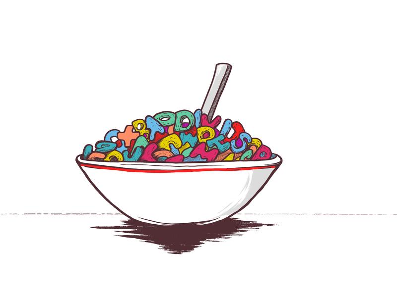 Spell | Inktober | Day 4 inktober cereal spelling illustration