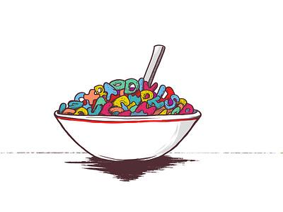 Spell   Inktober   Day 4 inktober cereal spelling illustration