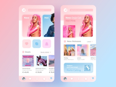 Candy Discogs 🍬💿 collector pink app visual ux ui redesign records product music logo flat gradient discogs digital design branding
