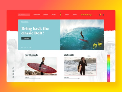 Lightning Bolt! ⚡🌊 branding visual product ux ui flat digital shop design modern vintage redesign website hawaii surf lightning bolt