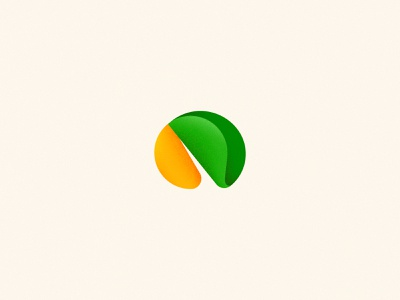 Aires e Aires Frutarias 🍊🛒 noise market mark fruit shop green orange visual icon branding gradient vector logo design flat digital