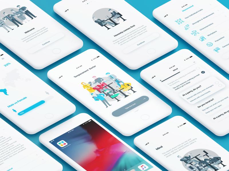 Temperament Sorter mobile app minimal flat vector branding app web illustration ui design personality mobile app