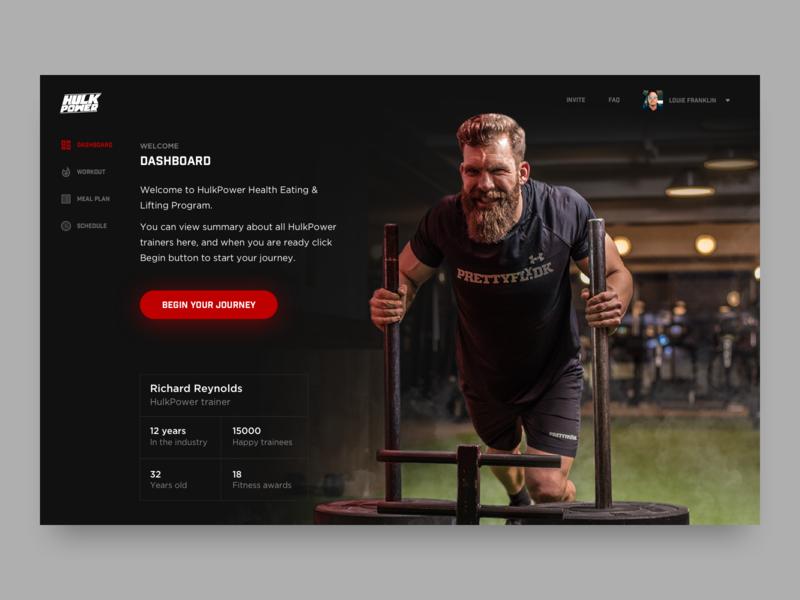 HulkPower fitness web application power hulk health gym fitness web app ux desktop clean branding app web ui design
