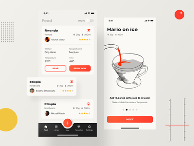 Coffeen mobile app app mobile dieterrams brewing coffee gradients vector illustration ui