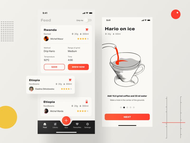 Coffeen mobile app app mobile dieterrams brewing coffee gradients vector illustration ui
