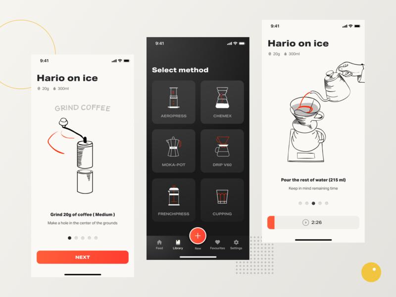 Coffeen mobile app 02 ui illustration vector gradient coffee brewing dieterrams mobile app