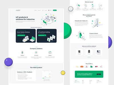 Iot products & solution for industries - landing page isometric isometric art dots design landing isometric illustration isometry vector illustration ui
