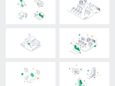Isometric illustrations set for IoT company isometric art isometric design isometric illustration isometric dots gradients vector illustration