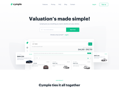 Cymple landing page valuation car landing app ux vector illustration ui