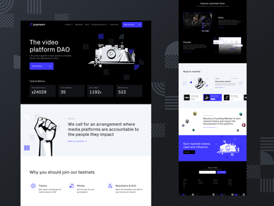 Joystream landing page update youtube platform video ui ux pattern antic brand joystream