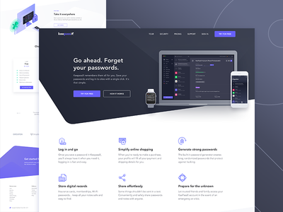keepassx landing page illustration ui ux security dashboard password page landing theme dark keepassx