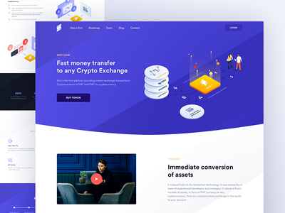 sint platform landing page crypto cryptocurrency light page landing ux ui illustrations isometric