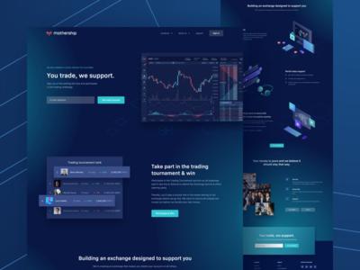 Mothership Landing Page ui cryptocurrency token illustration vector gradients blockchain exchange platform dark mothership
