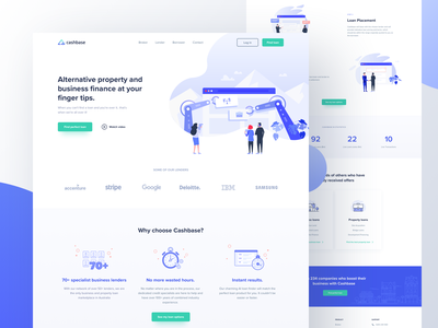 Cashbase | Landing page outline ui borrower broker lender cashbase landing  page illustration vector gradients dots