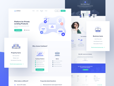 Cashbase | Subpages outline ui borrower broker lender cashbase landing  page illustration vector gradients dots
