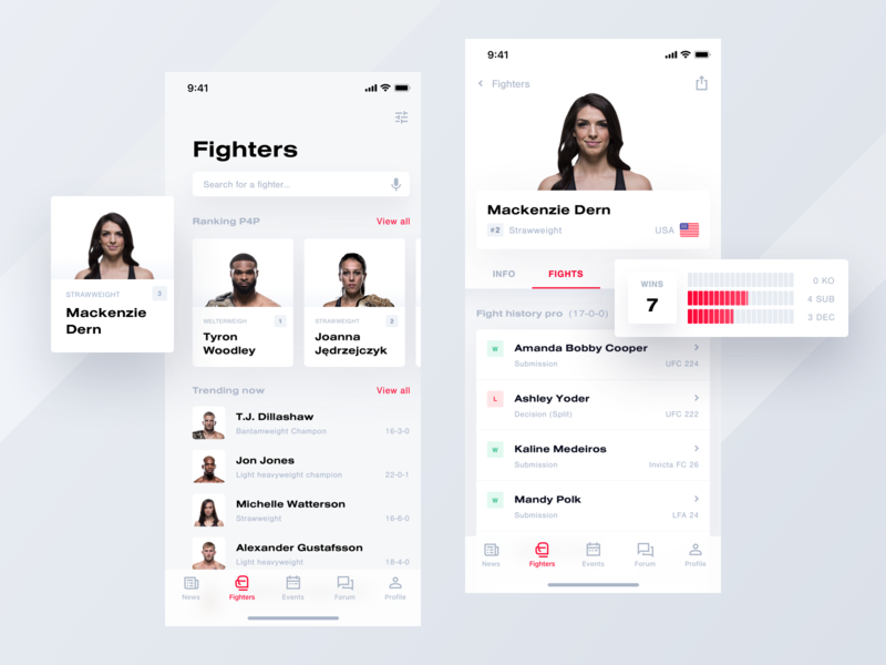 Tapology mobile app | Fighters app mobile mma fight ufc light theme white