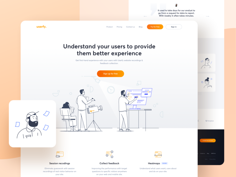 Userfy analytics tool - Landing page