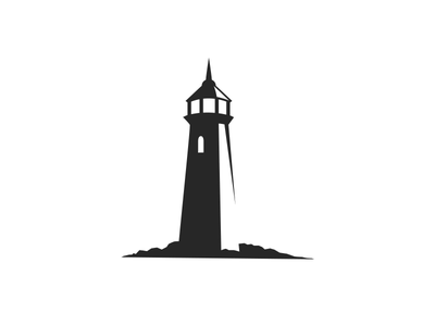 Light house Logo logo brand identity lighthouse tower security safety shore shadow mark silhouette light