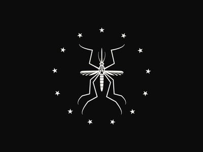 Mosquito Logo logo brand identity mosquito insect bug stars symmetry graphic center wings dark