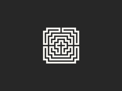 Logo For Christian Youth Group logo cross labyrinth maze symmetrical religion icon graphic brand identity christianity