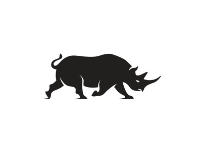 Rhino Logo logo rhino rhinoceros animal branding identity icon graphic charging strong angry black