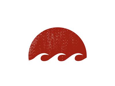 Red Sun Logo red sun logo identity brand icon balanced waves water ocean moon moody