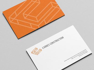 Identity Design For Construction Co. branding logo identity mockup business card stationery grid geometric framework orange