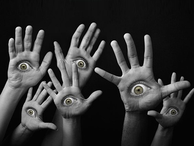 Eye Can See You photo montage spooky hands eyes photoshop abstract dark horror evil hell