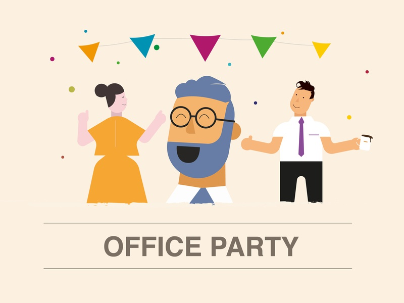 OFFICE PARTY face confetti laughter laugh music dance party event office coloful illustration