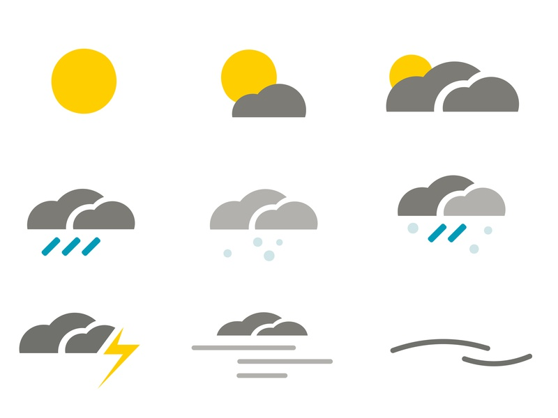 Stadtherz - Weather Illustration clouds rain sun weather icons weather app weather vector design illustration